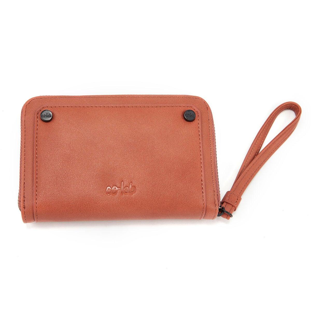 Lds cognac zip up mini wallet