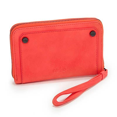 Co-Lab Women's 4993 coral zip up mini wallet