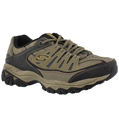 Skechers Men's AFTER BURN brown lace up sneakers- WIDTH  4E