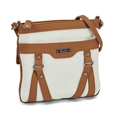 Lds white/tan top zip cross body bag