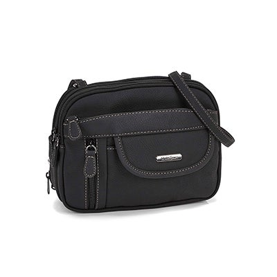 Lds blk multi compartment cross body bag