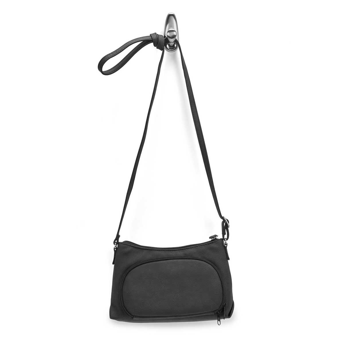 Lds Grace blk top zip mini crossbody bag