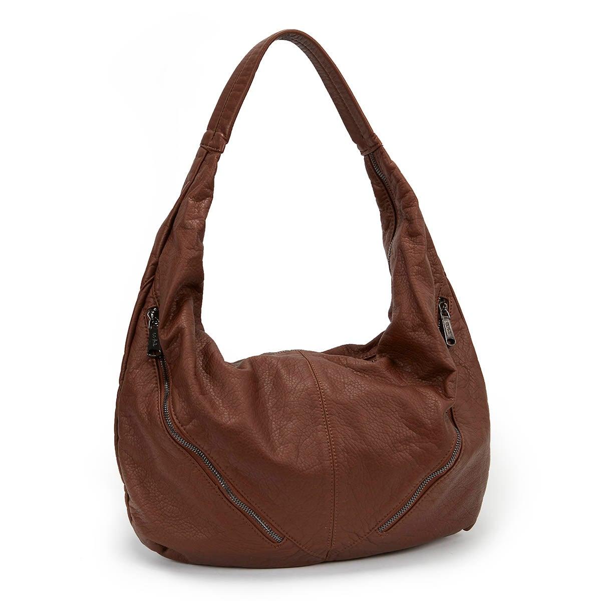 Lds The Wash cognac zip up hobo bag