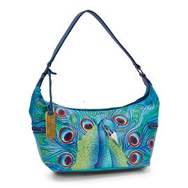 Painted leather Jeweled Plume hobo bag