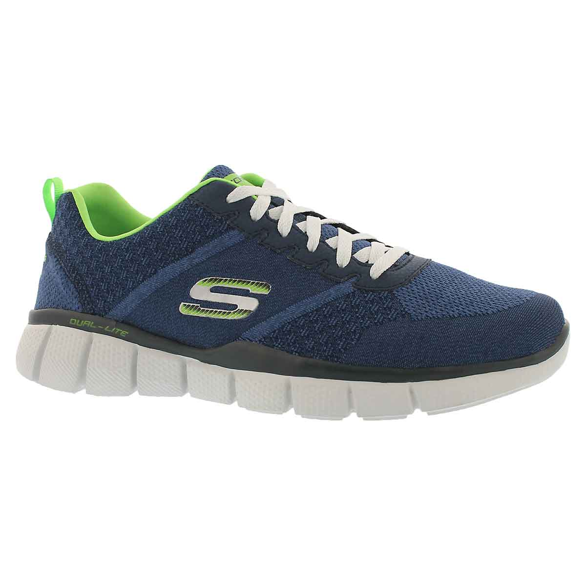 Men's TRUE BALANCE navy/lime running shoes - Wide