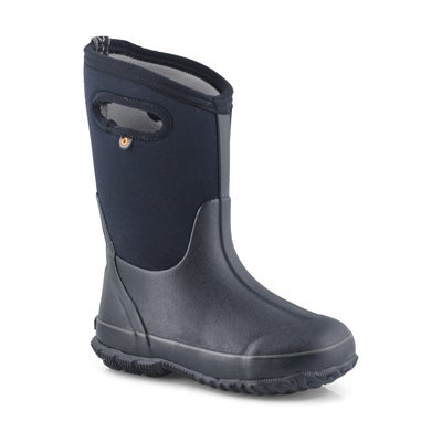 Bogs Kids' CLASSIC HIGH HANDLES black waterproof boots