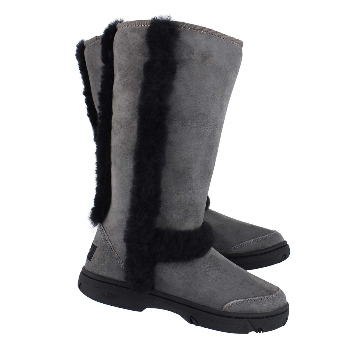 Lds Sunburst gry/blk tall sheepskin boot