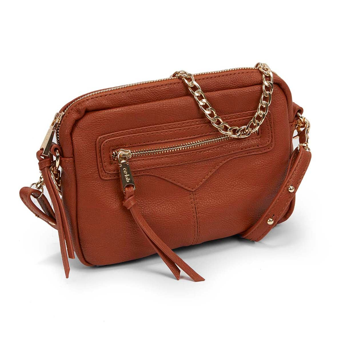 Lds Zip Zip cognac cross body bag