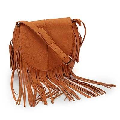 Lds Fringe Frenzy camel cross body bag
