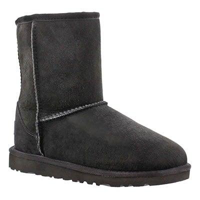 UGG Australia Girls' CLASSIC SHORT black sheepskin fashion boots