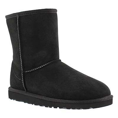 UGG Australia Girls' CLASSIC SHORT black sheepskin boots