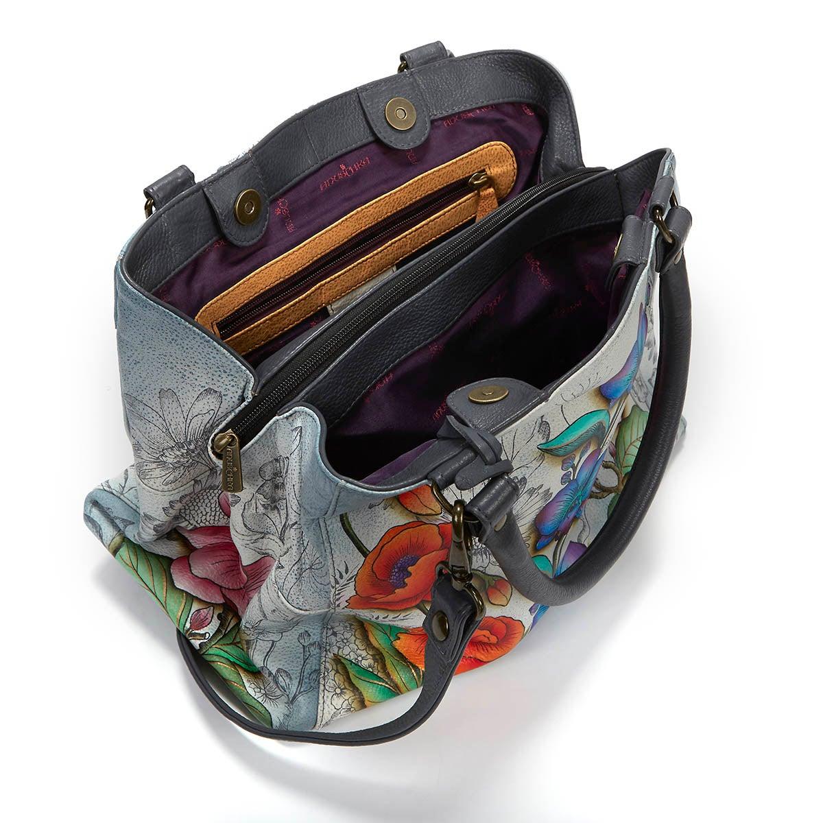 Printed lthr Floral Fantasy satchel