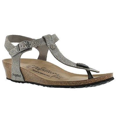Birkenstock Women's ASHLEY grey python thong sandals - Narrow