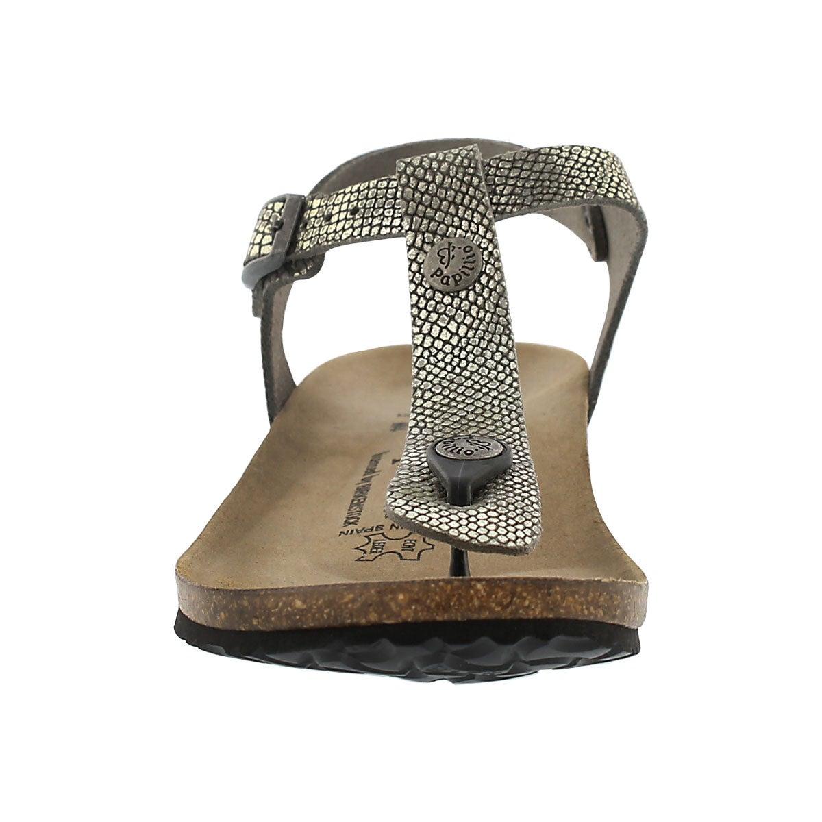 Lds Ashley grey python thong sandal-Narr