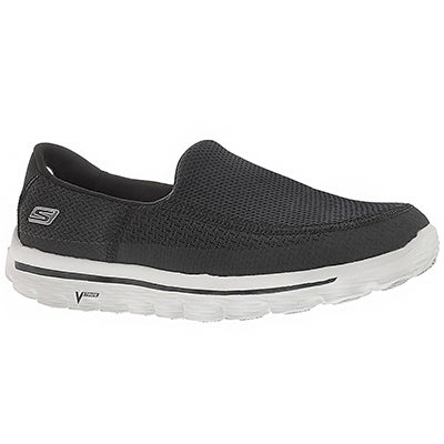 Skechers Men's GOwalk 2 black/grey mesh slip ons