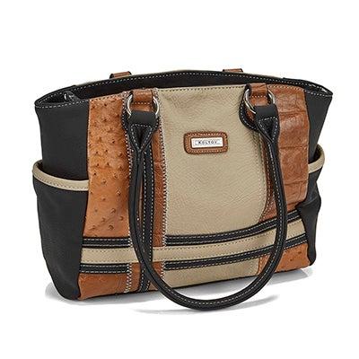 Lds black/tan large top zip tote bag