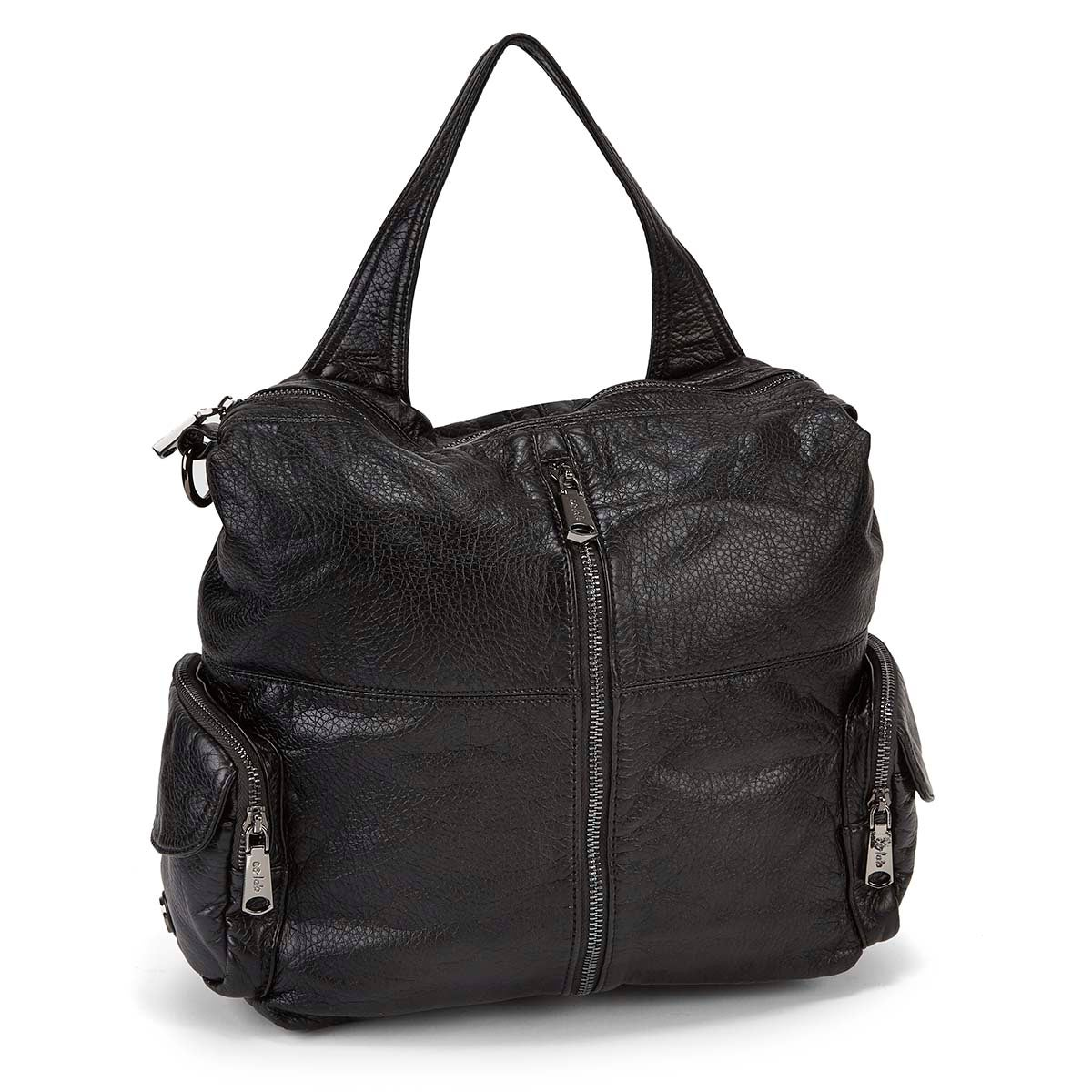 Women's 5317 black washed convertible backpack