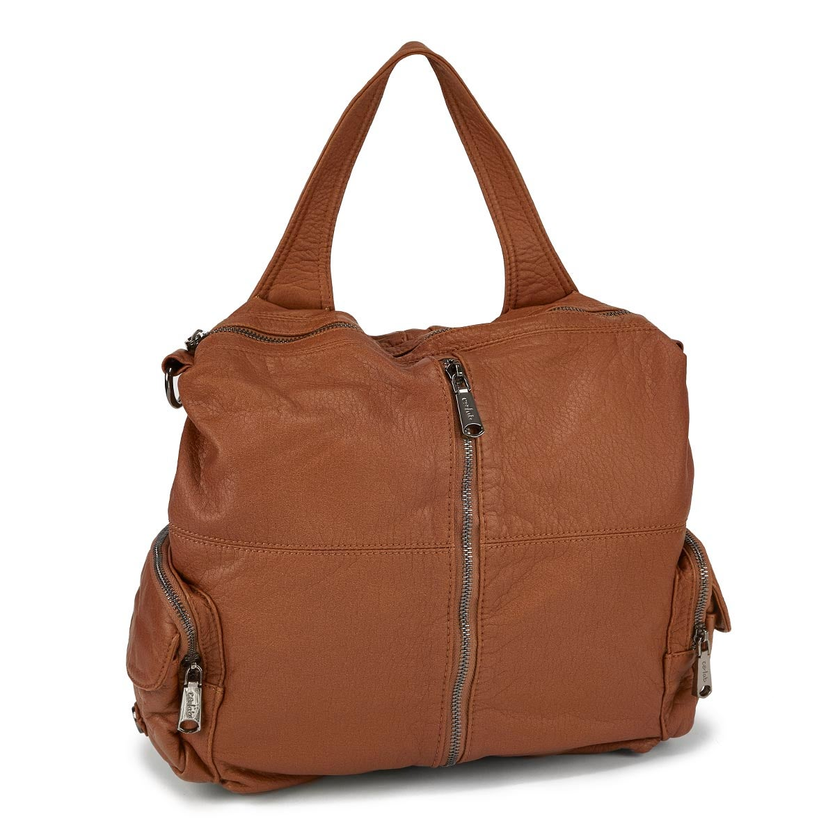 Women's 5371 cognac washed convertible backpack