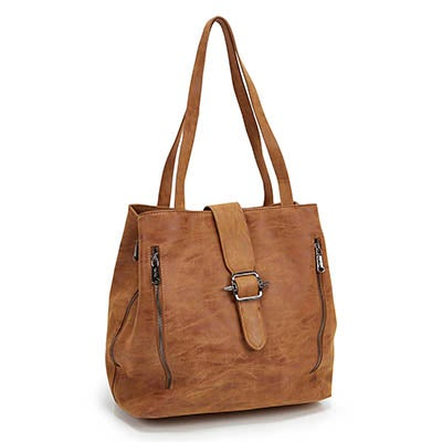 Co-Lab Women's 5375 camel buckle up tote bag