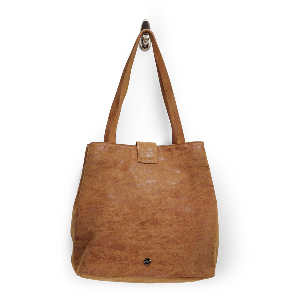 Lds camel buckle up tote bag
