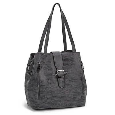 Co-Lab Women's 5375 dark grey buckle up tote bag