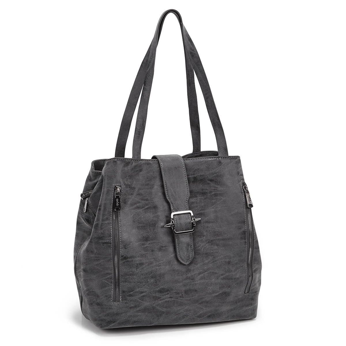 Lds dk grey buckle up tote bag