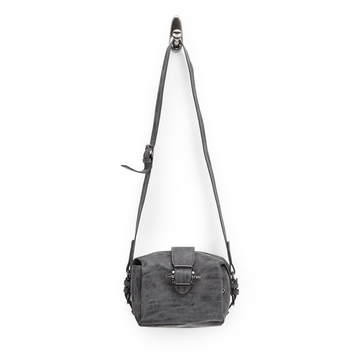 Lds dk grey buckle cross body bag