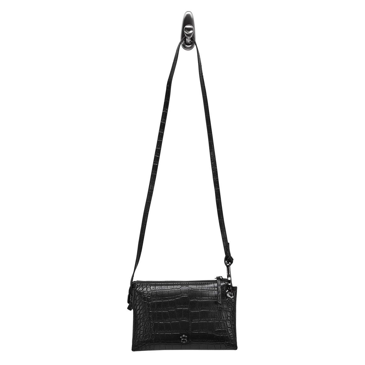 Lds black croco mini cross body bag