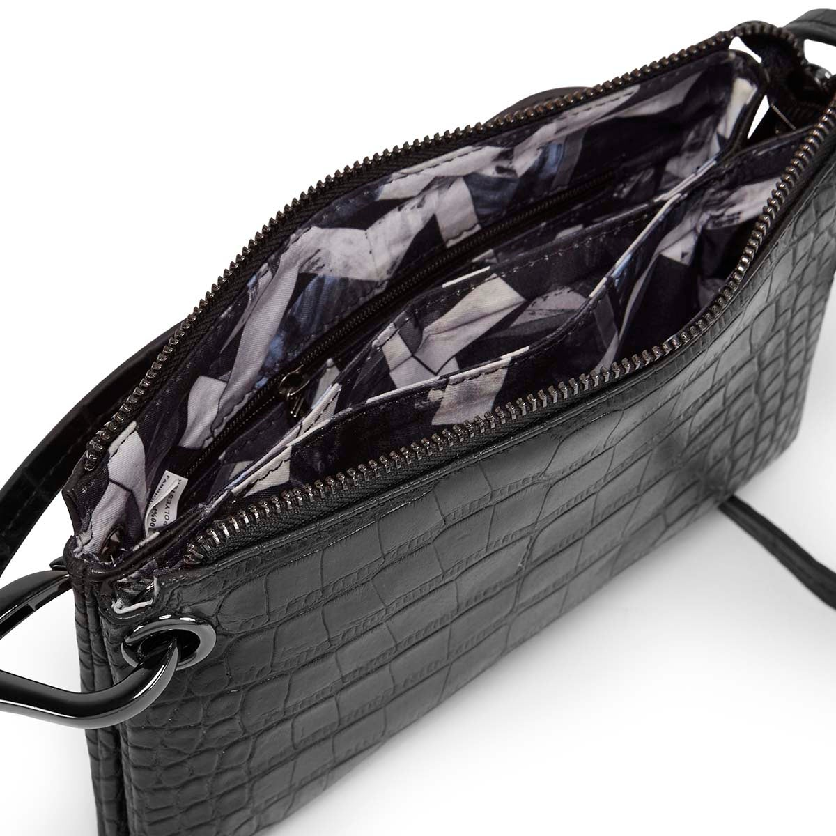 Lds black croco mini cross body bag
