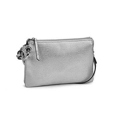 Lds metallic silver mini cross body bag