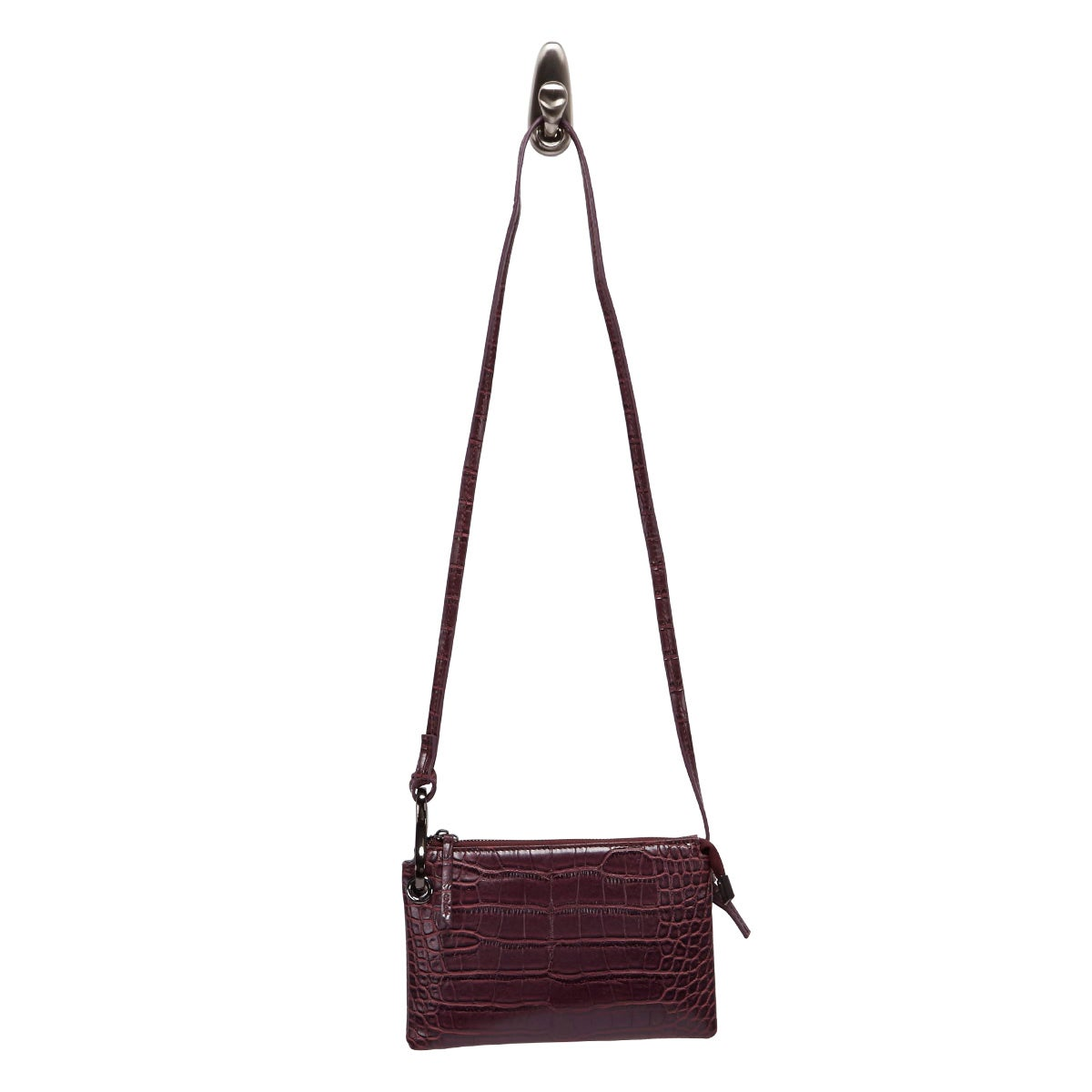 Lds wine croco mini cross body bag