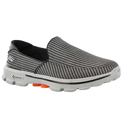Skechers Men's GOwalk 3 charcoal/orange slip on shoes