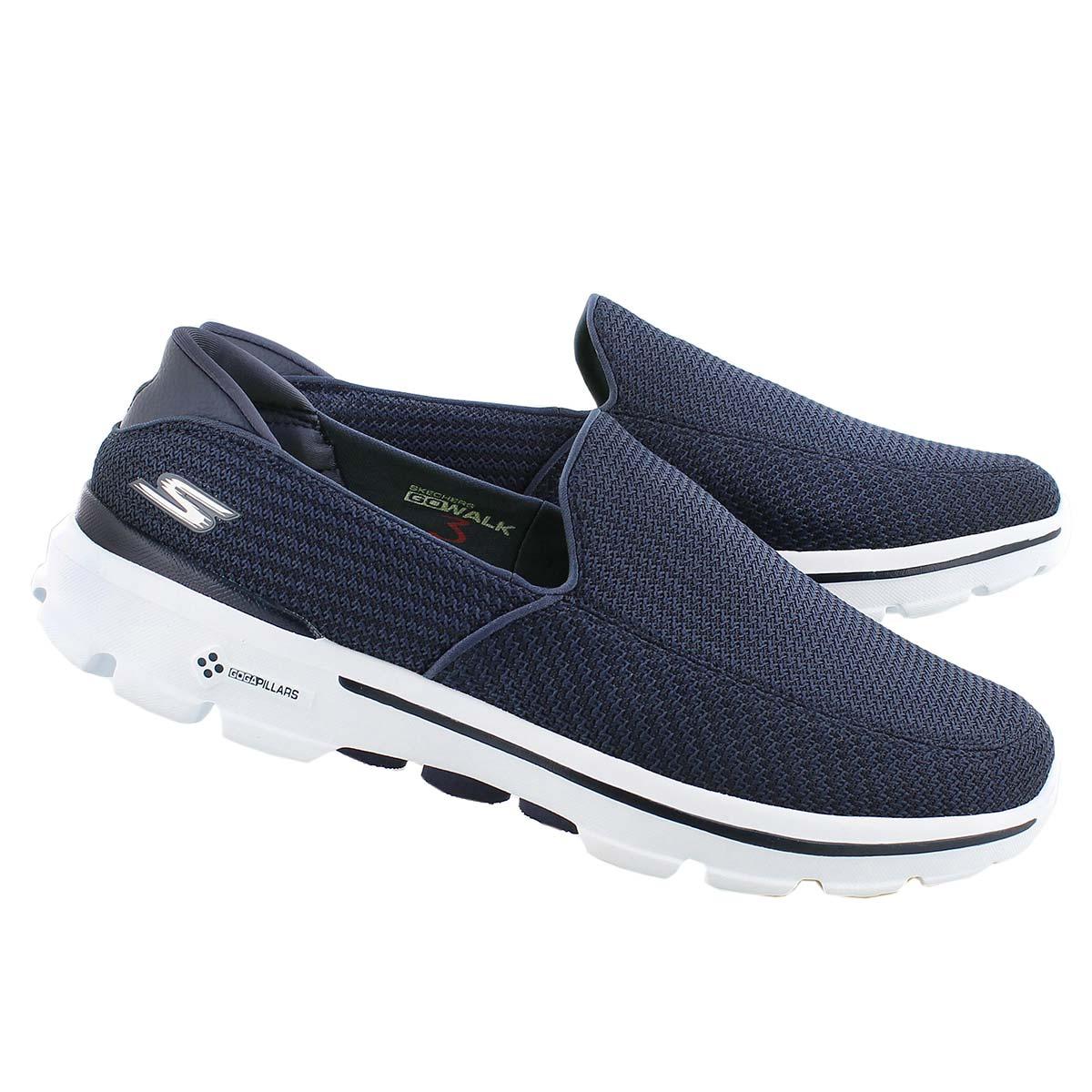 Mns GOwalk 3 nvy/wht slip on shoe