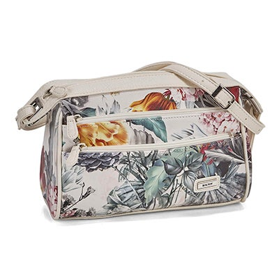 Lds floral/white small cross body bag
