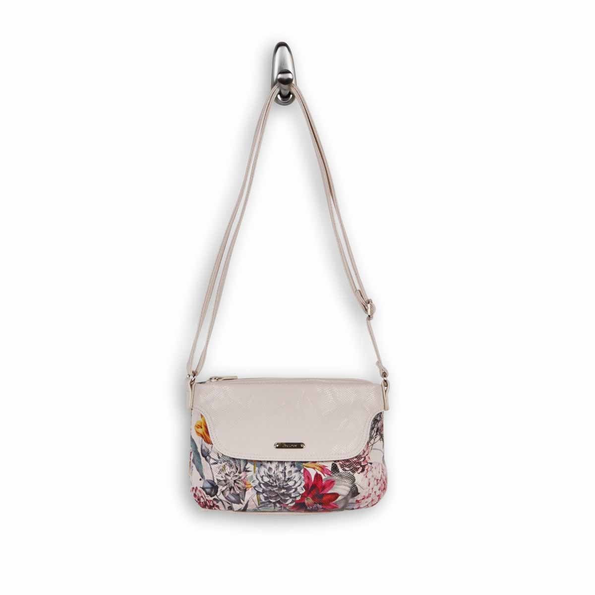 Lds Ruby wht floral multi cross body bag