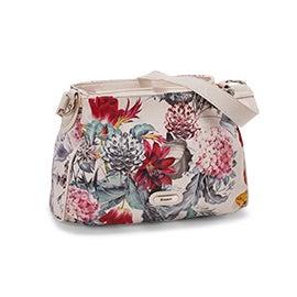 Lds Kacey wht floral multi satchel