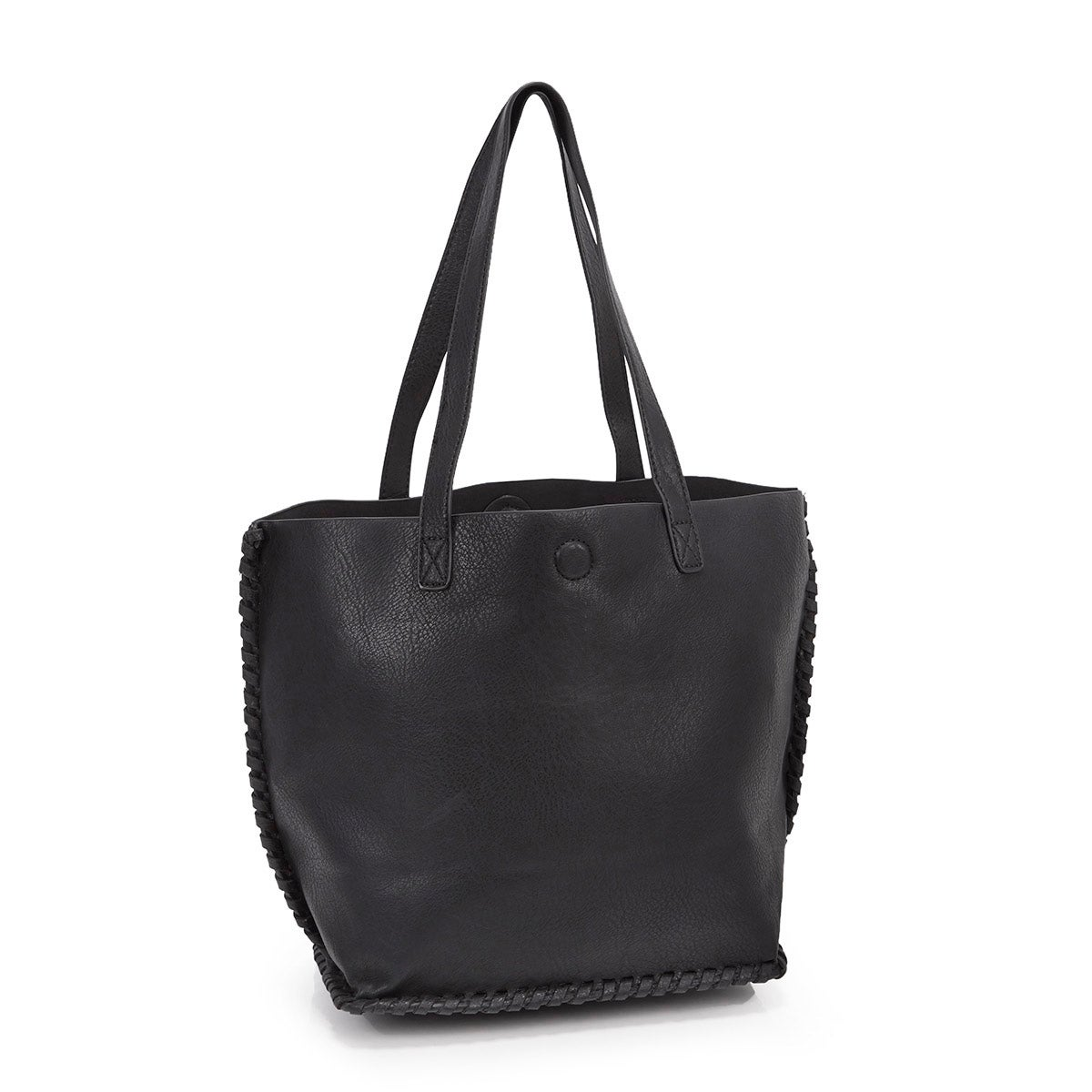Lds black stitched tote bag