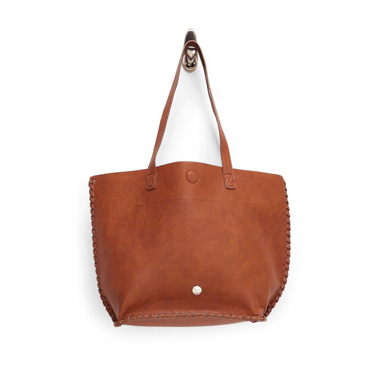 Lds cognac stitched tote bag