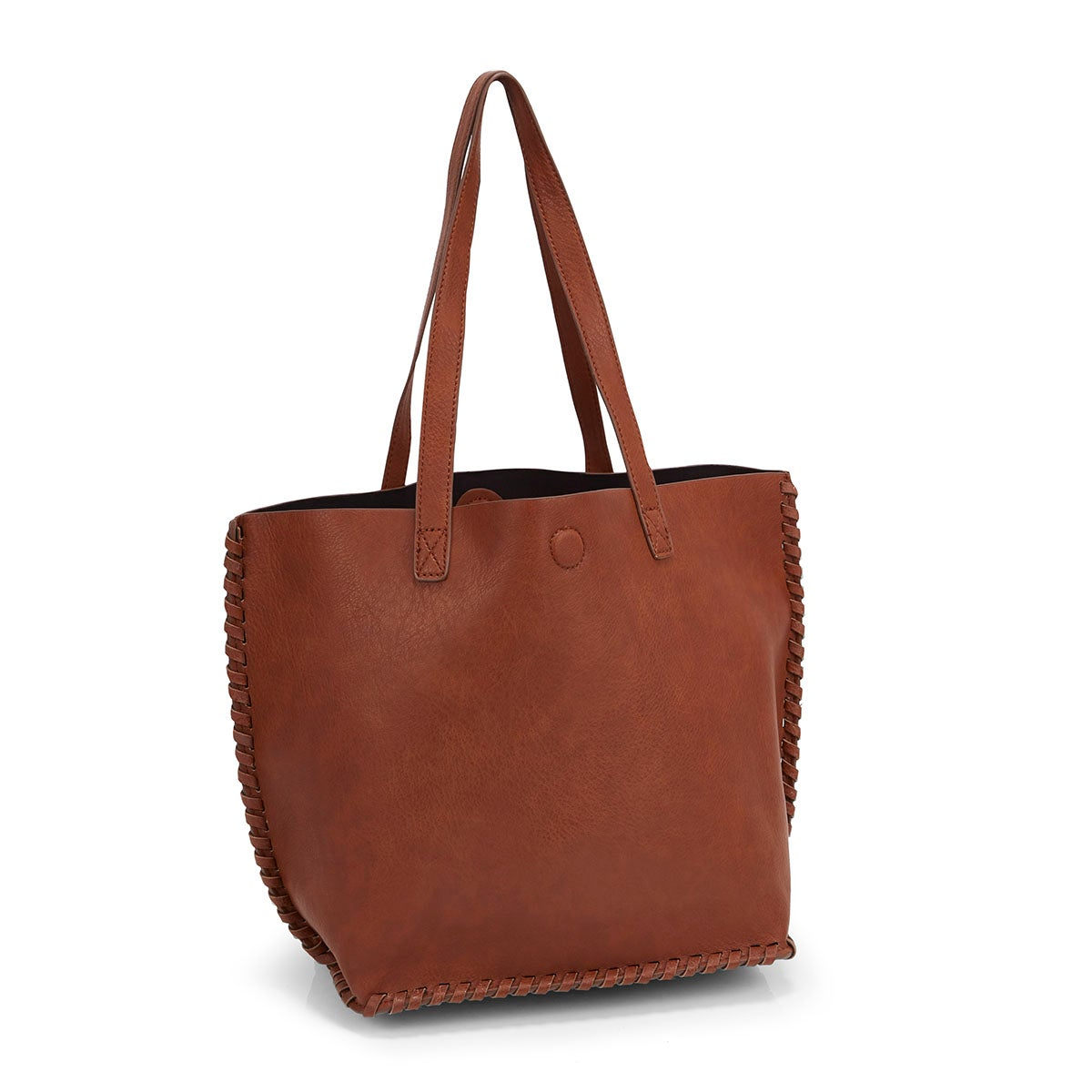 Women's 5414 cognac stitched tote bag