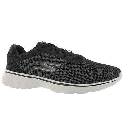 Mns GOwalk 4 blk/gry laceup walking shoe