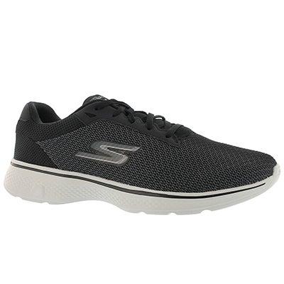 Mns GOwalk 4 blk/gry laceup walking shoe