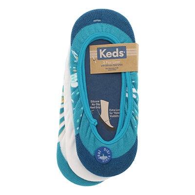 Women's blue folk print heel grip liners 3 pk