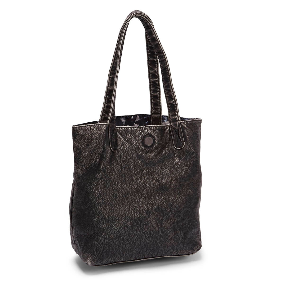 Lds black washed reversibe tote