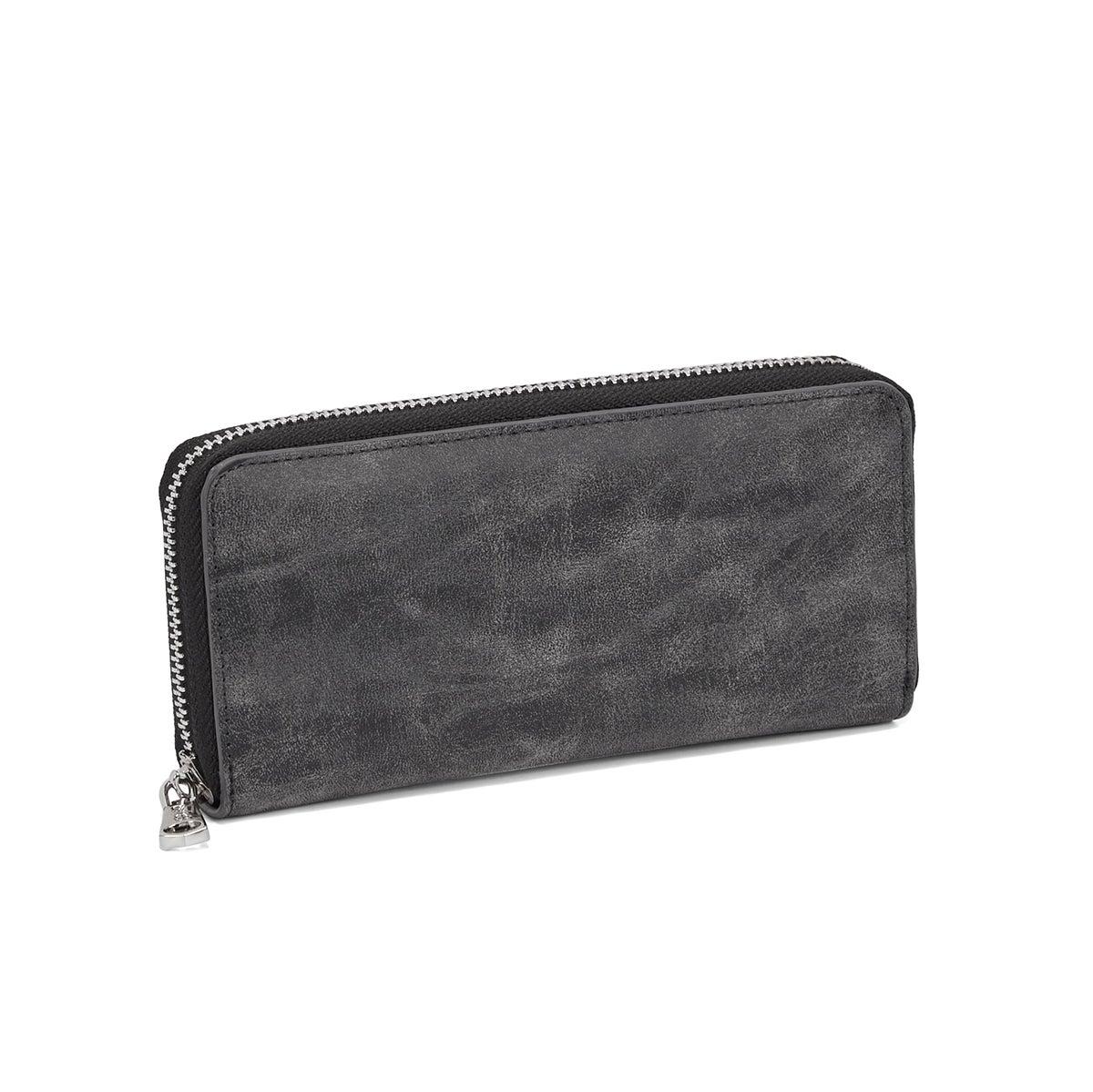 Lds dk grey zip around 4 card wallet