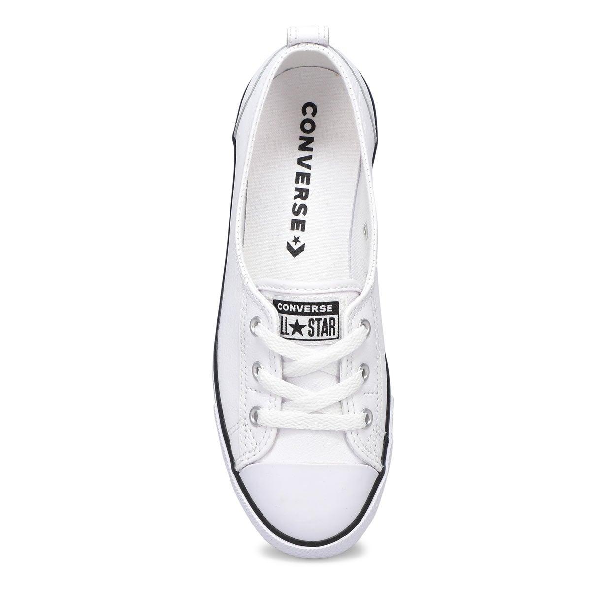 Lds CT A/S Ballet Lace white lthr sneakr