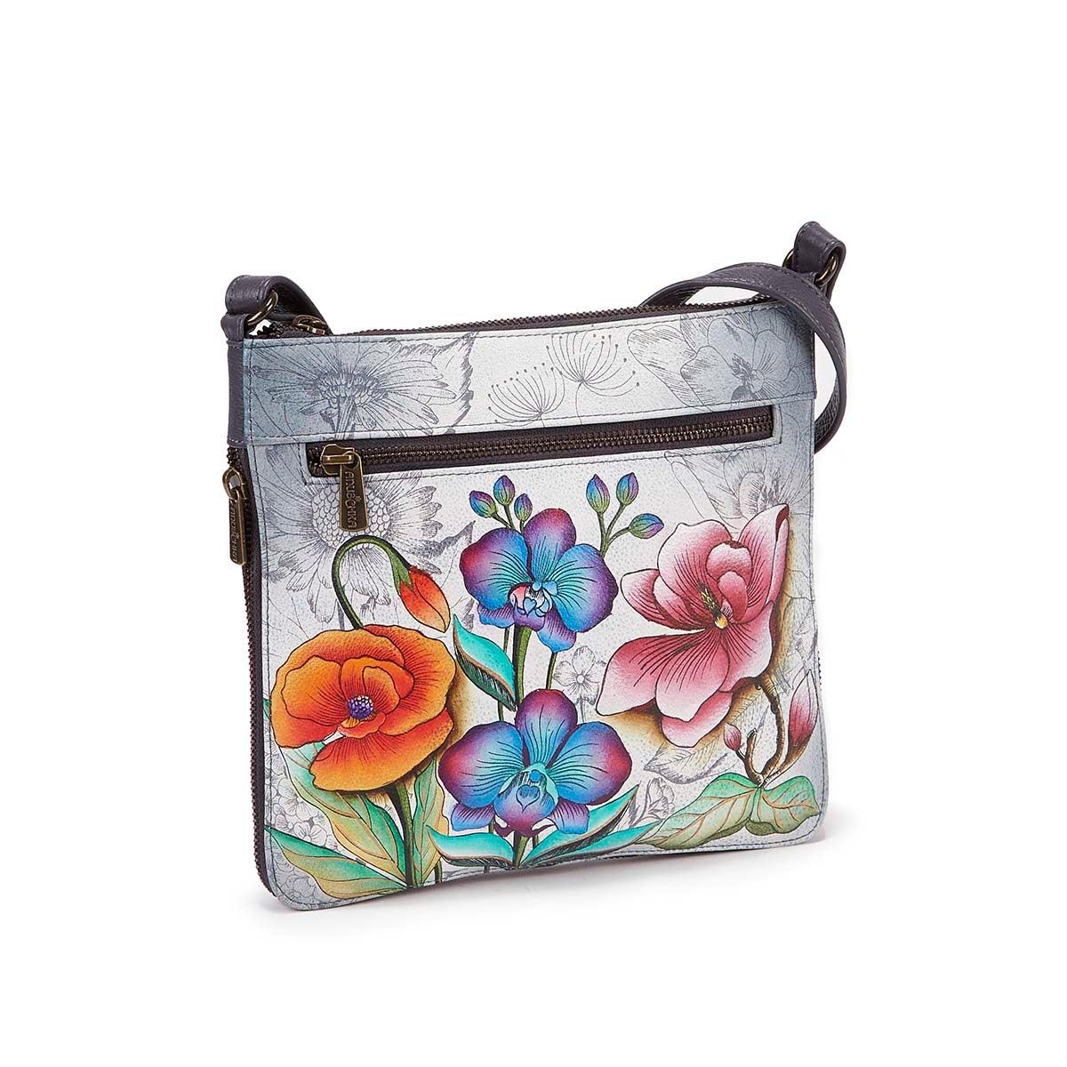 Printed lthr FloralFantasy crossbody bag