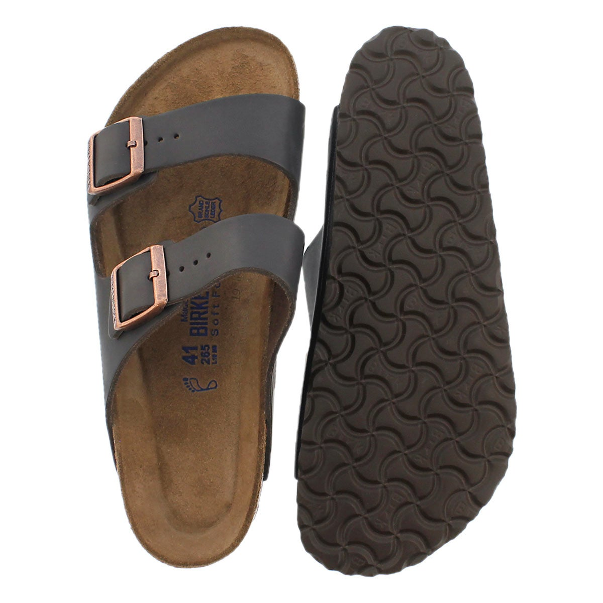 1cd38322c68e0 Men's ARIZONA soft footbed brown 2 strap sandals