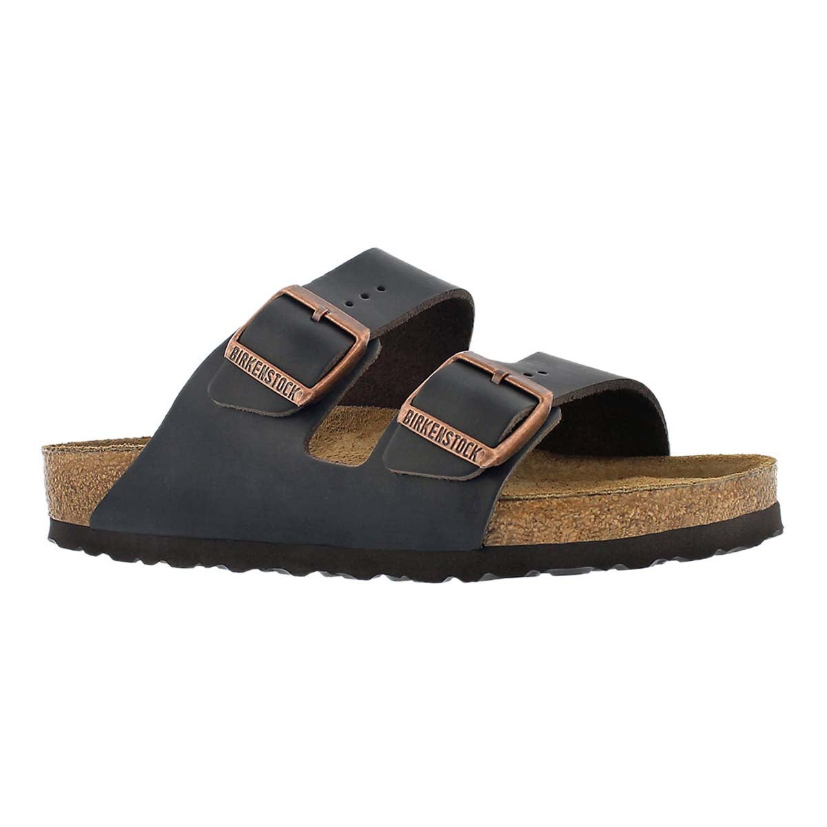 Women's ARIZONA soft footbed brown 2 strap sandals