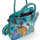 Printed lthr FloatingFeather conv. tote