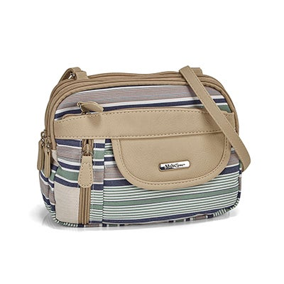 Lds stripe/chino crossbody bag